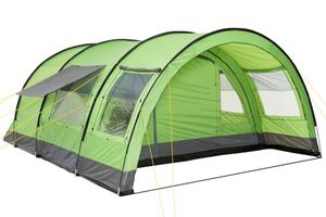 """CampFeuer Tunnelzelt für 6 Personen """"Relax6""""   grün-grau   Variables Tunnelzelt mit abtrennbarer Schlafkabine und 5.000 mm Wassersäule"""