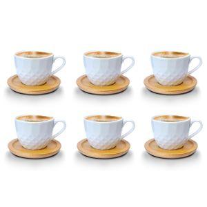 Espressotassen 12 Teilig mit untersetzer Bambus Porzellan 6 Tassen + 6 Untersetzer 100 ml Weisse Kaffeetassen Set bm732 Model 3