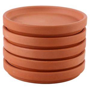 Mllaid 5pcs Keramik Blumentopf Drip Tray Rot Ton Pflanze Topf Untertasse Rund Porzellan Pflanze Topf Untertassen für Indoor Outdoor Garten Home Blumentopf Verwendung