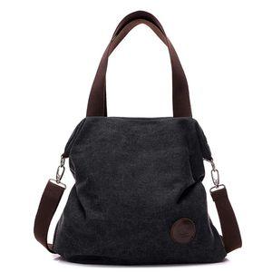Canvas Damen Handtasche Schultertasche Frauen Casual Umhängetaschen Tote Hobo Bag Groß für Arbeit Schule Shopper Ausflug Schwarz