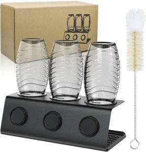 Premium 3er Edelstahl Abtropfhalter Flaschenhalter mit Abtropfwanne -Abtropfbehälter mit Flaschenbürste & Abtropfmatte- für SodaStream Duo Crystal Flaschen   aus hochwertigem Edelstahl - Abtropfhalter Abtropfständer