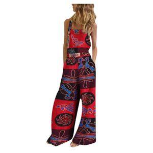 Frauen ärmellose Overalls Jumpsuit Casual Print Sommer Weite Bein Latzhose Größe:M,Farbe:Kupfer