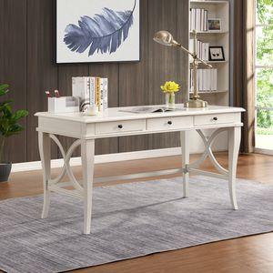 Schreibtisch weiß, Bürotisch, Computertisch, mit Schubladen, fürs Home Office, Vintage, aus Massivholz mit antikiertem weißem Finish, 140 x 70 x 77.5 cm, einfache Montage, B&D home