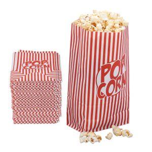 relaxdays Popcorntüten rot-weiß 144er Set