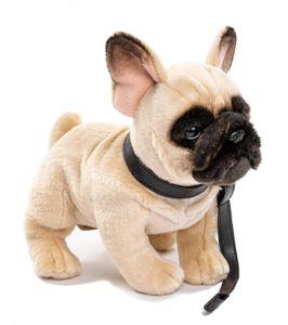 Uni-Toys - Französische Bulldogge mit Leine - 27 cm (Länge) - Plüsch-Hund - Plüschtier, Kuscheltier