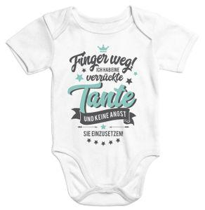 Kurzarm Baby Body Finger weg! Ich habe eine verrückte Tante lustig Spruch Onesie Moonworks®  0-3 Monate
