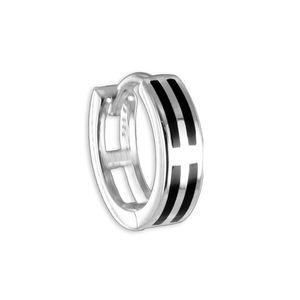 Herren Ohrring: 925 Silber Creole mit Onyx