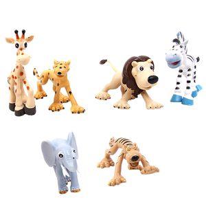 6 Stück Niedlich Tier Modell Waldtier Leopard Zebra Löwe Tiger Elefanten Hirsch Für Kinder Lernspielzeug