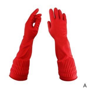 Rot Kš¹che Geschirr Reinigung Wasserdichte Lange Hš¹lse Latex Handschuhe