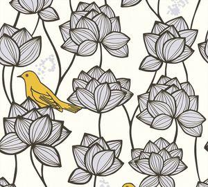 A.S. Création Vliestapete Palila Tapete gelb grau weiß 10,05 m x 0,53 m 363172 36317-2