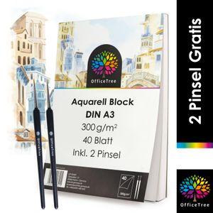 OfficeTree Aquarellblock A3 300g /m² 40 Blatt - Aquarellpapier Weiß – Zeichenblock A3 für Wasserfarben - 2 Pinsel gratis