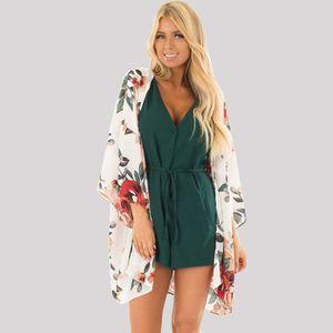 Neue Sommer Frauen Chiffon Bikini vertuschen Kimono Blumendruck Langarm Strickjacke Boho Beachwear