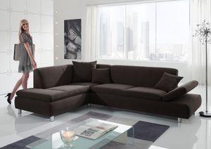 Max Winzer Prag Ecksofa links mit Sofa 2,5-Sitzer rechts - Farbe: schoko - Maße: 272 cm x 189 cm x 76 cm; 25581-264-1643792-MET