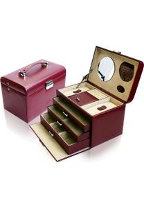 WINDROSE Merino Schmuckkoffer 4 Etagen Rot