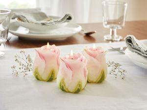 Kerze Rose im 3er Set, Maße: Ø 6 x 7 cm