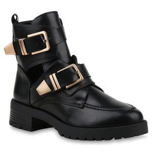 Mytrendshoe Damen Ankle Boots Cut Out Stiefeletten Booties 833141, Farbe: Schwarz PU, Größe: 38