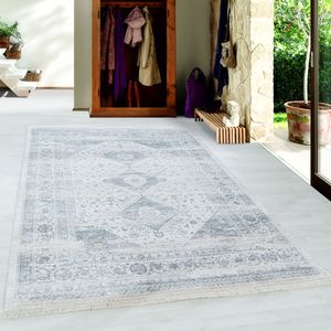 Designteppich VINTA Kurzflor Teppich Vintage Muster Orientmuster Silber, Farbe:Silber, Grösse:200x290 cm