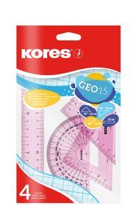 Kores Geometrie-Set GEO30 4-teilig farbig sortiert