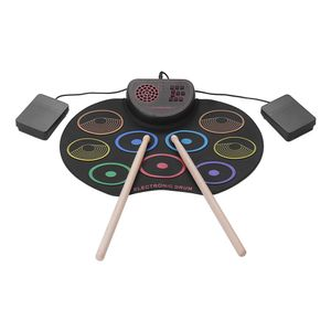 Tragbares elektronisches Drum-Set USB-Roll-Up-Drum-Pad-Kit 9 Drumpads Eingebauter Lautsprecher mit Sticks und Fusspedalen Digitale Percussion-Instrumente