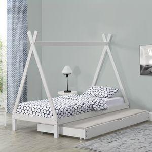 Kinderbett mit Ausziehbett 90x200cm Tipi Indianer Bett Kojenbett Gästebett Weiß Hausbett Kinder Haus [en.casa]