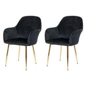 2x Esszimmerstuhl HWC-F18, Stuhl Küchenstuhl, Retro Design  Samt schwarz, goldene Beine
