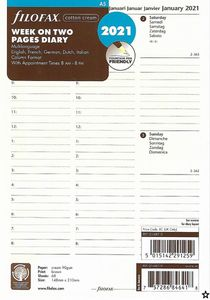 Filofax Kalender Einlage A5 Multilanguage: Week on two pages 2021 Cotton Cream