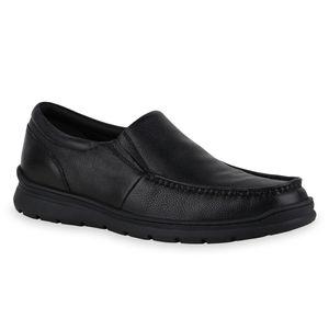 Mytrendshoe Herren Klassische Slippers Profil-Sohle Schlupf-Schuhe 836050, Farbe: Schwarz, Größe: 44