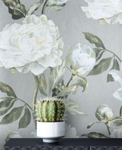 Tapete Blumentapete Weiß Vlies  Vintage Floral Landhaus Rosen   Bukane
