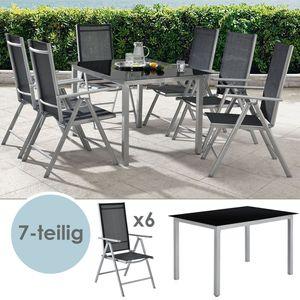 Juskys Aluminium Gartengarnitur Milano Gartenmöbel Set mit Tisch und 6 Stühlen Silber-Grau mit schwarzer Kunstfaser Alu Sitzgruppe Balkonmöbel