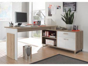 """Winkelschreibtisch Schreibtisch Büroschreibtisch Eckschreibtisch """"Margate I"""" Sonoma-Eiche / Weiß"""