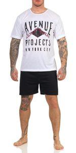 Herren Pyjama Short & Tshirt Schlaf-Anzug, Weiß XL