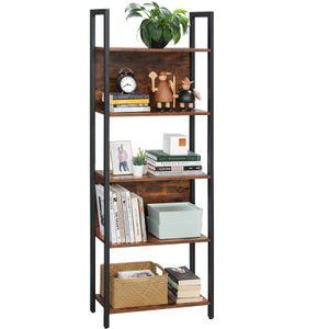 VASAGLE Bücherregal mit 5 offenen Regalebenen | 62 x 24 x 165 cm | Standregal stabiles Stahlgestell Industrie-Design vintagebraun-schwarz LLS025B01
