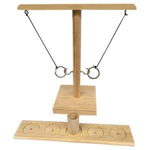 2 Spieler Ringwurfspiel, Bar-Brettspiel, Ringklingelhaken aus Holz,Trinkspiele für Erwachsene und Spielzeug(Quadratische Holzfarbe)