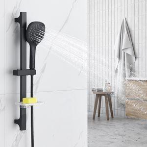 Auralum Brausestangenset mit 3 Strahlart Handbrause und Seifenhalter, Duschsäule Duschset,Duschbrause Duschkopf Set, Brausegarnitur Brauseset