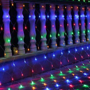 LED Lichternetz 3X2m 200Leds Bunt Lichterkette Lichtervorhang 8 Lichtmodi Innen Außen Party Garten Weihnachtsbeleuchtung