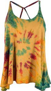 Batik Hippie Top - Beige, Damen, Orange, Viskose,Elasthan, Tops & T-Shirts