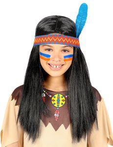 Indianerperücke Mit Stirnband & Feder