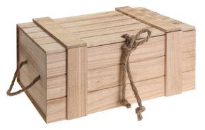Holzkiste Kiste Schatzkiste Schatztruhe Holzkasten Holz braun Truhe mit Deckel 11 x 30 x 20,5 cm