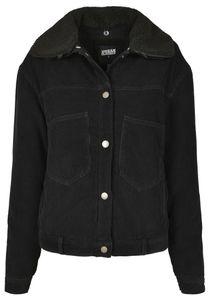 Urban Classics TB3051  Ladies Oversized Corduroy Sherpa Jacket, Größe:3XL, Farbe:BLACK/BLACK