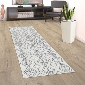 Teppich Wohnzimmer Kurzflor Mit Skandinavischem Boho Muster Abstrakt Creme Grau, Grösse:160x230 cm