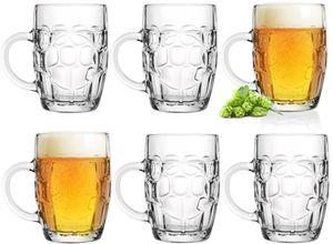 Biergläser 0,5L mit Henkel Bierkrug Set 6 Teilig Maßkrug aus Glas Oktoberfest mit Ornament Muster, klassisch