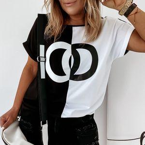 Damen Casual Kurzarm Blusen Printed Color Block T-Shirt Top XXL