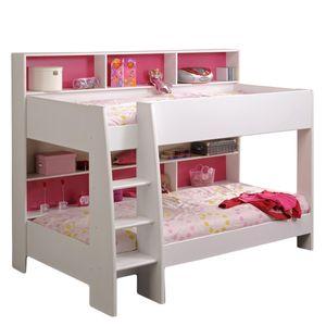 Etagenbett weiß inkl Regale + Rückwand + Boden für Matratzen Kinderzimmer Stock Doppel Hoch Spiel Kinderbett