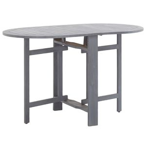 MÖBEL Klappbarer Gartentisch CLORIS Esstisch Balkontisch Tisch Garten Grau 120 x 70 x 74 cm Akazienholz Massiv #DE6610