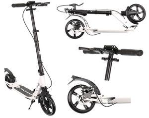 Roller Kickscooter Tretroller Cityroller ABEC9 Gummiräder Höhenverstellbar 10285, Farbe:Weiß / white