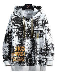 Herren Top Lässig Locker Sportlich Camouflage Print Hoodie Pullover Pullover,Farbe: Weiß,Größe:4XL