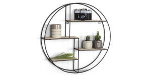 LIFA LIVING Wandregal Ronda | Rund | Holz & schwarzes Metall | Industrie Design | 4 Böden | O 55 cm x 11 cm