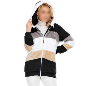 Damen Fleece Hoodie Jacke Lose Casual Top Zip Jacke,Farbe: Schwarz,Größe:5XL