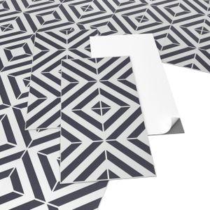 ARTENS - PVC Bodenbelag - Selbstklebende Fliesen - Geometrischer Fliesen-Effekt - Schwarz / Weiß - 2.23m² / 12 Fliesen