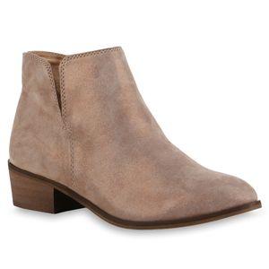 Mytrendshoe Damen Stiefeletten Ankle Boots 835515, Farbe: Beige Bronze, Größe: 37
